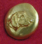 Profile Foxhound , right facing Bronze Button