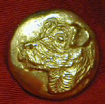 Jack Russell Terrier, left facing Bronze Button