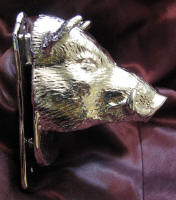 Wild Boar Large Door Knocker, side view, nickel plated