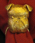 Burssels Griffon, natural ears, Napkin Ring