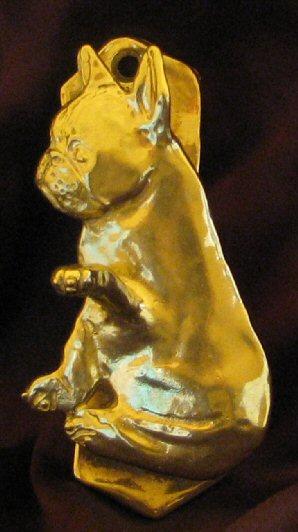 French bulldog frenchie solo door knocker in bronze - Bulldog door knocker ...