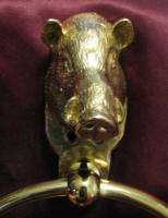 Large Boar Towel Ring, close up