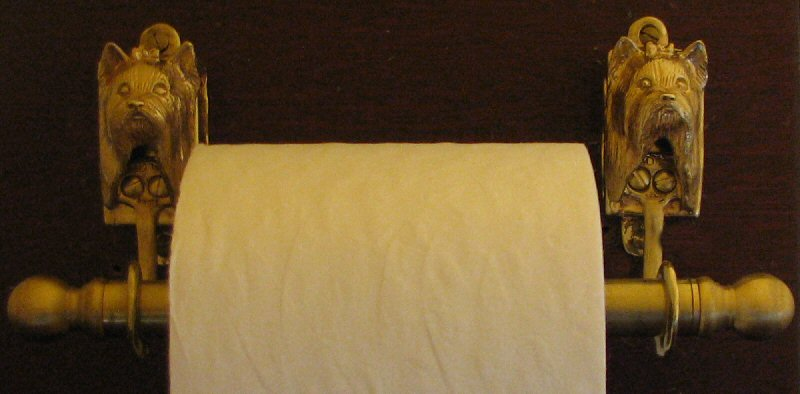 Yorkie Yorkshire Terrier Bronze Toilet Paper Holder or Paper Towel Holder